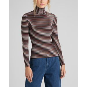Lee dámské triko  LS STRIPED RIB TEE BURNT OCRA